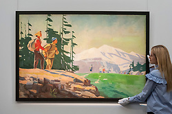 """© Licensed to London News Pictures. 03/06/2016. London, UK. A staff member shows a Georgy Nissky's """"Hikers"""" (est. GBP 100,000-150,000), at a preview of Sotheby's Russian and contemporary central and eastern European art sale which takes place in London on 7 June. Photo credit : Stephen Chung/LNP"""