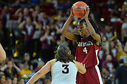 March 18, 2016; Tempe, Ariz;  New Mexico State Aggies guard Sasha Weber (4) is guarded by Arizona State Sun Devils guard Sabrina Haines (3) during a game between No. 2 Arizona State Sun Devils and No. 15 New Mexico State Aggies in the first round of the 2016 NCAA Division I Women's Basketball Championship in Tempe, Ariz. The Sun Devils defeated the Aggies 74-52.