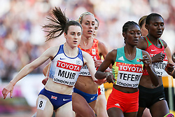 London, August 10 2017 . Laura Muir, Great Britain, stumbles in the women's 5,000m heats on day seven of the IAAF London 2017 world Championships at the London Stadium. © Paul Davey.