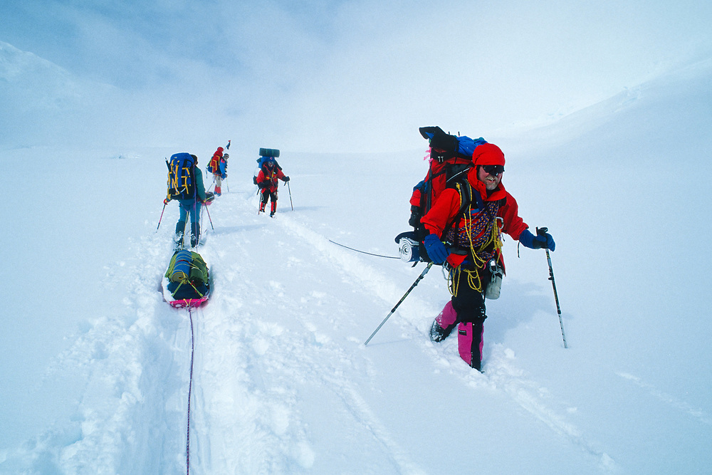 Alaska. Denali NP. Mt McKinley. Climbers passing each other on the travelled summit climb of Mt McKinley.