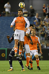 November 11, 2017 - Melbourne, Victoria, Australia - PETROS SKAPETIS (33) of Brisbane jumps for the ball in the round six match of the A-League between Melbourne Victory and Brisbane Roar at Etihad Stadium, Melbourne, Australia. Melbourne drew 1-1 (Credit Image: © Sydney Low via ZUMA Wire)