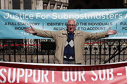 © Licensed to London News Pictures. 23/04/2021. London, UK. Former Post Office sub-postmaster Noel Thomas reacts to the verdict outside The High Court. The Appeal Court has cleared the names of a group of 42 sub-postmasters - some of whom were jailed for stealing money after the Horizon accounting software was installed at Post Offices. At a previous High Court hearing a judge found the Fujitsu accounting system had major faults and defects. The Post Office has already agreed to pay £58m in a settlement with more than 500 sub-postmasters. <br />
