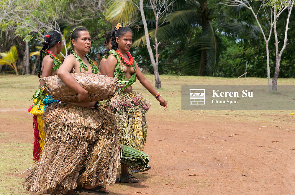 Yapese woman in traditional clothing, Yap Island, Federated States of Micronesia