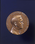 Alexander Fleming (1881-1955) Scottish bacteriologist who discovered penicillin in 1928. In 1945 he shared the Nobel Prize for Physiology and Medicine with Howard  Florey (1898-1968) and Ernst Chain (1906-1979). Obverse of medal, 1945.