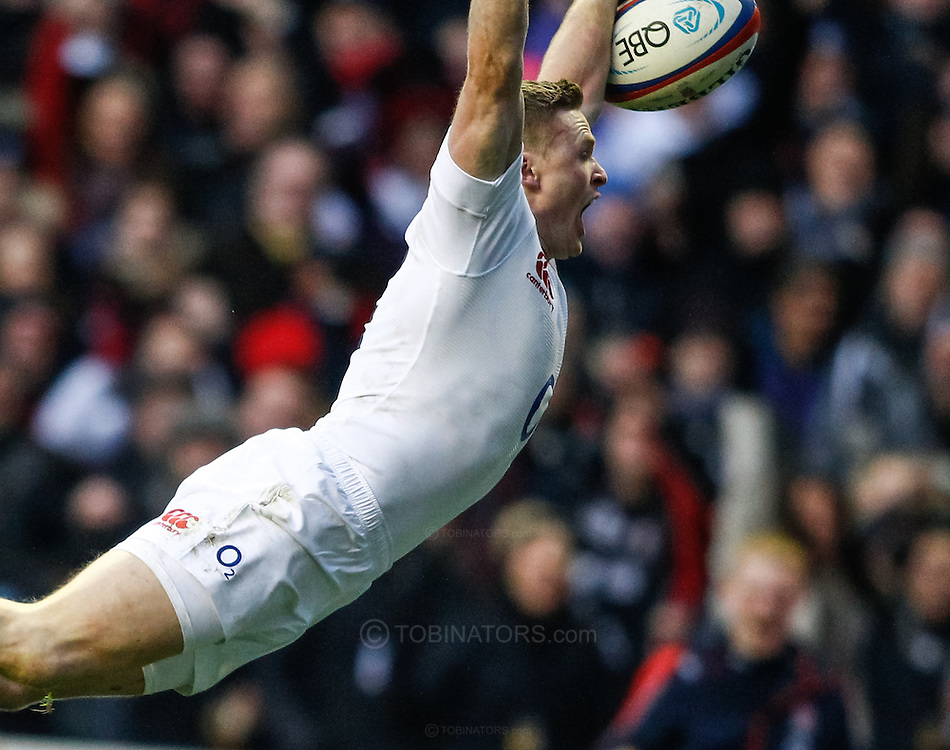 Picture by Andrew Tobin/SLIK images +44 7710 761829. 2nd December 2012. Chris Ashton of England runs in his try during the QBE Internationals match between England and the New Zealand All Blacks at Twickenham Stadium, London, England. England won the game 38-21.