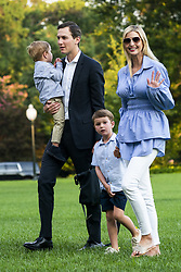 Jared Kushner (C-L) and Ivanka Trump (R) walk with their children Theodore (L) and Joseph (C-R) across the South Lawn as they return from a weekend stay in Bedminster, New Jersey at the White House in Washington, DC, USA, 29 July 2018. Earlier in the day, the U.S. President Donald J. Trump once again went after the media on Twitter, calling them the 'enemy of the people.'