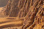 Fluted sandstone cliffs in Wadi Rum, Jordan.