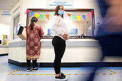 © Licensed to London News Pictures. 02/09/2021.  Wythenshawe UK . HOLLY HUNTER (24 , from Sale) is 2 weeks overdue and about to have the birth of her first child induced . Pregnant women are being vaccinated against Coronavirus at the Maternity Clinic in Wythenshawe Hospital . Photo credit : Joel Goodman/LNP