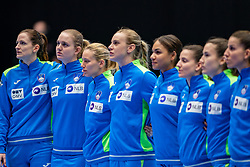 Team Slovenia during the Women's friendly match between Netherlands and Slovenia at De Maaspoort on march 19, 2021 in Den Bosch, Netherlands (Photo by RHF Agency/Ronald Hoogendoorn)