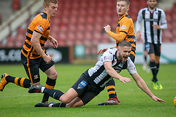 Dunfermline's Daniel Devine brought down for a penalty claim. Dunfermline 2 v 2 Alloa Athletic. Alloa win on penalties. Irn Bru cup game played 13/10/2018 at Dunfermline's home ground, East End Park.