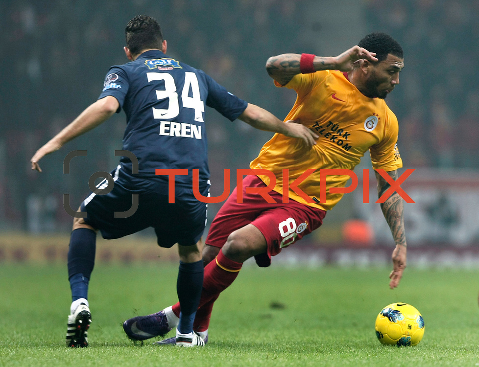 Galatasaray's Colin Kazim Richards (R) during their Turkish Super League soccer match Galatasaray between IBBSpor at the TT Arena at Seyrantepe in Istanbul Turkey on Tuesday, 03 January 2012. Photo by TURKPIX