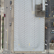 A drone view of the empty top level of a parking garage on Ontario Street and Jefferson Avenue in Toledo on Thursday, April 23, 2020. THE BLADE/KURT STEISS