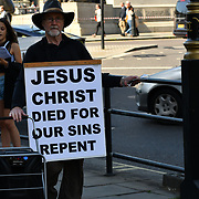 UK Weather - The Hottest week in June 2019, a man Preaching Jesus Christ in Trafalgar Square, on 27 June 2019, London, UK