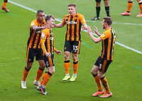 Hull City's Keane Lewis-Potter celebrates scoring the opening goal with teammates <br /> <br /> Photographer Alex Dodd/CameraSport<br /> <br /> The EFL Sky Bet League One - Hull City v Wigan Athletic - Saturday 1st May 2021 - KCOM Stadium - Kingston upon Hull<br /> <br /> World Copyright © 2021 CameraSport. All rights reserved. 43 Linden Ave. Countesthorpe. Leicester. England. LE8 5PG - Tel: +44 (0) 116 277 4147 - admin@camerasport.com - www.camerasport.com