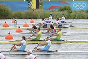 Eton Dorney, Windsor, Great Britain,..2012 London Olympic Regatta, Dorney Lake. Eton Rowing Centre, Berkshire[ Rowing]...Description;  Heat, Men's double Sculls: .Luka SPIK (b) , Iztok COP (s).LTU.M2X Rolandas MASCINSKAS (b) , Saulius .GBR M2X Bill LUCAS (b) , Sam TOWNSEND (s).NOR.M2X Nils Jakob HOFF (b) , Kjetil BORCH (s).FRA.M2X Julien BAHAIN (b) , Cedric BERREST (s).CAN M2X Michael BRAITHWAITE (b) , Kevin KOWALYK (s)..Dorney Lake. 12:30:05  Tuesday  31/07/2012.  [Mandatory Credit: Peter Spurrier/Intersport Images].Dorney Lake, Eton, Great Britain...Venue, Rowing, 2012 London Olympic Regatta...