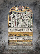 """Ancient Egyptian stele dedicated to Osiris by Neskhonsu,  Late Period, 25th Dynasty, (722-664 BC), Thebes, Cat 1596. Egyptian Museum, Turin. <br /> The round topped stele dedicated by Osiris to Neskhonsu, daaughter of Nespernebu, """"gogs father"""" of Amon. Gifted by the Cairo Museum"""