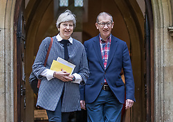 © Licensed to London News Pictures. 08/10/2017. Maidenhead, UK. Prime Minister Theresa May and her husband attend church in her constituency. Mrs May has faced heavy criticism after her disastrous conference speech, with some MPs in the Conservative party calling for her to stand down.  Photo credit: Peter Macdiarmid/LNP