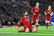 Mohamed Salah of Liverpool (l) celebrates after scoring his teams 2nd goal to make it 2-1. Premier League match, Liverpool v Leicester City at the Anfield stadium in Liverpool, Merseyside on Saturday 30th December 2017.<br /> pic by Chris Stading, Andrew Orchard sports photography.