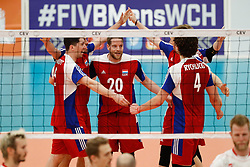 20170525 NED: 2018 FIVB Volleyball World Championship qualification, Koog aan de Zaan<br />Team Luxembourg celebrate a point, Ben Angelsberg (20) of Luxembourg<br />©2017-FotoHoogendoorn.nl / Pim Waslander