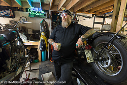 Milwaukee Mike Johnston in the Shed Co-op motorcycle work space during the Milwaukee Rally . Milwaukee, WI, USA. Monday, September 5, 2016. Photography ©2016 Michael Lichter.