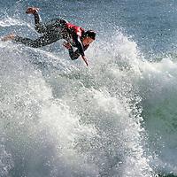 Santa Cruz High's Selah Bartlett flies out of a wave after completing a steep climb during the women's shortboard semifinals at Santa Cruz Scholastic Surf League's final meet of the season at Steamer Lane in Santa Cruz, California.<br /> Photo by Shmuel Thaler <br /> shmuel_thaler@yahoo.com www.shmuelthaler.com