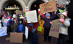 "December 10, 2016 - Washington, DC, USA - ELSIE KARLINS, 5 years old (far right) holds a sign saying ''Use Kind Words'' and ADELINE (ADDIE) WORSLEY, 5 years old, holds sign ''Stop Saying Mean Words'' as the group stand in front of hotel. Children's Rally for Kindness takes place at Trump International Hotel in Washington DC on December 10, 2016 organized by the Takoma Parents Action Coalition.  According to their FaceBook page, it was a call to President-elect Donald Trump: ''to remember these lessons as he prepares to take office and implement policies that will affect the lives of children and families across our diverse nation.''.''All over the world, across cultures and countries, children learn the same basic lessons: .Ã'be kind,Ã"" .Ã'tell the truth,Ã"" .Ã'be fair,Ã"" .Ã'respect everyone,Ã"" .Ã'treat others the way you want to be treated,Ã"" .Ã'donÃ•t touch others if they donÃ•t want to be touched. (Credit Image: © Carol Guzy via ZUMA Wire)"