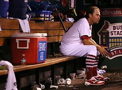 August 22, 2017 - St Louis, MO, USA - St. Louis Cardinals pitcher Zach Duke sits in the dugout after allowing three runs to score in a six-run seventh inning against the San Diego Padres on Tuesday, Aug. 22, 2017, at Busch Stadium in St. Louis. The Padres won, 12-4. (Credit Image: © Chris Lee/TNS via ZUMA Wire)