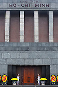 © Licensed to London News Pictures. 01/01/2012. Guards stand outside Ho Chi Minh's Mausoleum in Hanoi, Vietnam. Photo credit : Stephen Simpson/LNP