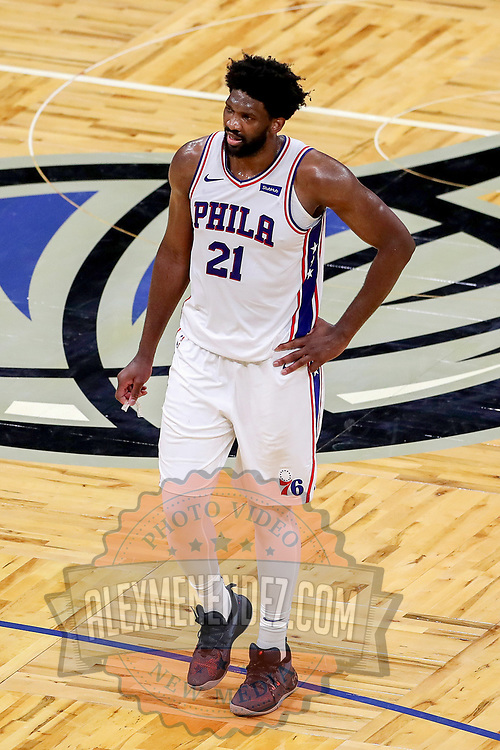 ORLANDO, FL - DECEMBER 31:  Joel Embiid #21 of the Philadelphia 76ers plays against the Orlando Magic at Amway Center on December 31, 2020 in Orlando, Florida. NOTE TO USER: User expressly acknowledges and agrees that, by downloading and or using this photograph, User is consenting to the terms and conditions of the Getty Images License Agreement. (Photo by Alex Menendez/Getty Images)*** Local Caption *** Joel Embiid