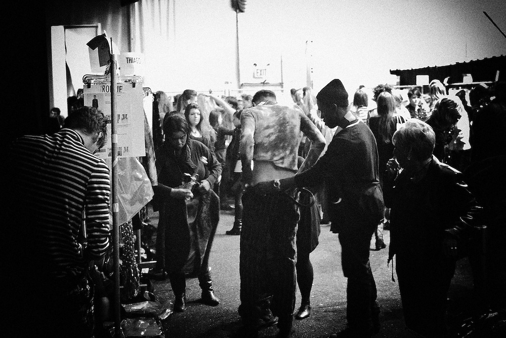 Backstage at the Custo Barcelona show during Fashion Week Fall 2009 Collection.
