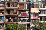 Housing next to a new road construction New Delhi, India