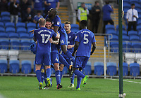 CELE - Cardiff City's Sean Morrison celebrates scoring the opening goal with his team mates <br /> <br /> Photographer Ashley Crowden/CameraSport<br /> <br /> The EFL Sky Bet Championship - Cardiff City v Sheffield United - Tuesday 15th August 2017 - Cardiff City Stadium - Cardiff<br /> <br /> World Copyright © 2017 CameraSport. All rights reserved. 43 Linden Ave. Countesthorpe. Leicester. England. LE8 5PG - Tel: +44 (0) 116 277 4147 - admin@camerasport.com - www.camerasport.com