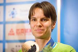 Teja Gregorin, bronze medalist in biathlon at reception of Slovenia team arrived from Winter Olympic Games Sochi 2014 on February 19, 2014 at Airport Joze Pucnik, Brnik, Slovenia. Photo by Vid Ponikvar / Sportida