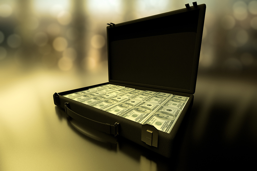 3D rendering of a close-up of briefcase full of money.