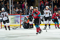 KELOWNA, CANADA - MARCH 16: Leif Mattson #28 of the Kelowna Rockets celebrates a first period goal against the Vancouver Giants  on March 16, 2019 at Prospera Place in Kelowna, British Columbia, Canada.  (Photo by Marissa Baecker/Shoot the Breeze)