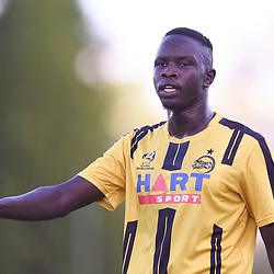BRISBANE, AUSTRALIA - JANUARY 27: Chom Arop of the Jets gives instructions during the Kappa Silver Boot Third Place match between Moreton Bay United and Brisbane City on January 27, 2018 in Brisbane, Australia. (Photo by Patrick Kearney)