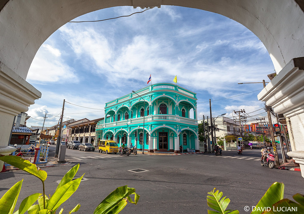 An old portuguese restored building near Dibuk road, located in the old town of Phuket.