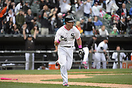 CHICAGO - MAY 10:  Gordon Beckham #15 of the Chicago White Sox hits a game winning, walk-off single against the Cincinnati Red on May 10, 2015 at U.S. Cellular Field in Chicago, Illinois.  (Photo by Ron Vesely)   Subject:   Gordon Beckham