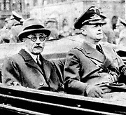 Count Paul Teleki (1879-1941) Prime Minister of Hungary, driving through Munich with Joachim von Ribbentrop, German Foreign Minister, when visiting Germany to discuss Hungary's claims to Transylvania.