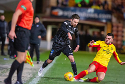 Dunfermline's Ryan Dow and Partick Thistle's Reece Cole. Dunfermline 5 v 1 Partick Thistle, Scottish Championship game played 30/11/2019 at Dunfermline's home ground, East End Park.