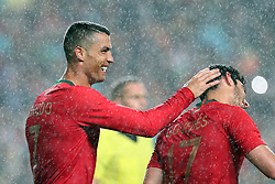 June 7, 2018 - Lisbon, Portugal - Portugal's forward Goncalo Guedes (R ) celebrates with forward Cristiano Ronaldo (R ) after scoring his second goal during the FIFA World Cup Russia 2018 preparation football match Portugal vs Algeria, at the Luz stadium in Lisbon, Portugal, on June 7, 2018. (Portugal won 3-0) (Credit Image: © Pedro Fiuza/NurPhoto via ZUMA Press)