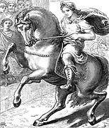 Alexander the Great (Alexander III of Macedon) 356-323 BC riding Bucephelus his favourite horse. Woodcut c1873.