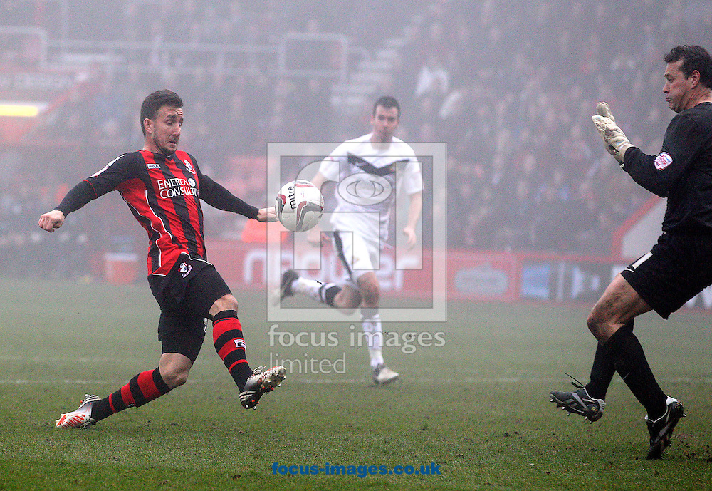 Picture by Paul Terry/Focus Images Ltd +44 7545 642257.09/03/2013.Matt Tubbs of Bournemouth scores to make it 1-1 during the npower League 1 match at the Seward Stadium, Bournemouth.