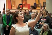 Singer Alison Rose from the Birmingham Opera Company performs Freedom Bridge inside The Mailbox to an audience, during the Birmingham Weekender Arts And Culture Festival on 23rd September 2017 in Birmingham, United Kingdom.