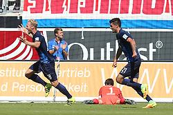 07.08.2016, Voith Arena, Heidenheim, GER, 2. FBL, 1. FC Heidenheim vs FC Erzgebirge Aue, 1. Runde, im Bild Sebastian Griesbeck ( 1.FC Heidenheim ) Martin Maennel ( FC Erzgebirge Aue ) Tim Kleindienst ( 1.FC Heidenheim ) Jubel nach dem 1:0 // during the 2nd German Bundesliga 1st round match between 1. FC Heidenheim and FC Erzgebirge Aue Voith Arena in Heidenheim, Germany on 2016/08/07. EXPA Pictures © 2016, PhotoCredit: EXPA/ Eibner-Pressefoto/ Langer<br /> <br /> *****ATTENTION - OUT of GER*****
