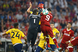 August 2, 2017 - Munich, Germany - Miguel Angel Moya of Atletico de Madrid and Roberto Firmino of Liverpool during the Audi Cup 2017 match between Liverpool FC and Atletico Madrid at Allianz Arena on August 2, 2017 in Munich, Germany. (Credit Image: © Matteo Ciambelli/NurPhoto via ZUMA Press)