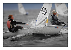 The penultimate days racing in the World Laser Radial Youth Championships, Largs, Scotland. ..Marie Bolou FRA 196995..317 Youth Sailors from 42 different nations compete in the World and European Laser Radial Youth Champiponship from the 17-25 July 2010...The Laser Radial World Championships take place every year. This is the first time they have been held in Scotland and are part of the initiaitve to bring key world class events to Britain in the lead up to the 2012 Olympic Games. ..The Laser is the world's most popular singlehanded sailing dinghy and is sailed and raced worldwide. ..Further media information from .laserworlds@gmail.com.event press officer mobile +44 7866 571932 and +44 1475 675129 .