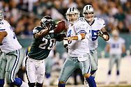 28 Dec 2008: Philadelphia Eagles safety Brian Dawkins #20 knocks the ball away from Dallas Cowboys quarterback Tony Romo #9 for a fumble during the game against the Dallas Cowboys on December 28th, 2008. The Philadelphia Eagles won 44-6 at Lincoln Financial Field in Philadelphia, Pennsylvania.