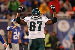 Philadelphia Eagles offensive tackle Jamaal Jackson #67 reacts after an Eagles Touchdown during the NFL game between the Philadelphia Eagles and the New York Giants on December 13th 2009. The Eagles won 45-38 at Giants Stadium in East Rutherford, New Jersey. (Photo By Brian Garfinkel)