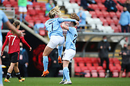 Goal 0-2 Manchester City midfielder Laura Coombs (7) scores a goal 0-2 and celebrates during the FA Women's Super League match between Manchester United Women and Manchester City Women at Leigh Sports Village, Leigh, United Kingdom on 14 November 2020.